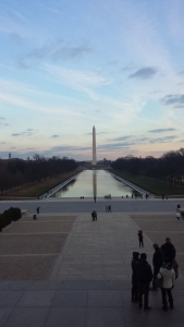 Reflecting pool and Washington Monument from Lincoln Monument steps